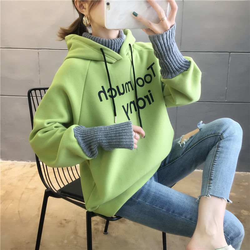 Autumn and Winter New Korean Version of Women's Hooded High Collar Fake Two Fashionable Tops with Plush Thickening for Students 15