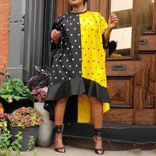 Ladies Oversized Loose Yellow Black Polka Dots High Low Ruffles Dress Africa Color Black Women Summer Autumn Midi Dress Falbala стоимость