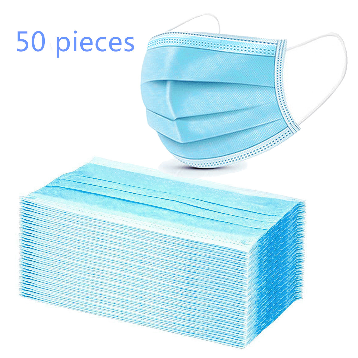 50PCS Disposable Face Mask Respirator Multi Layers Filter Pad  Prevention Safety Anti-Dust Protective Face Mouth Masks
