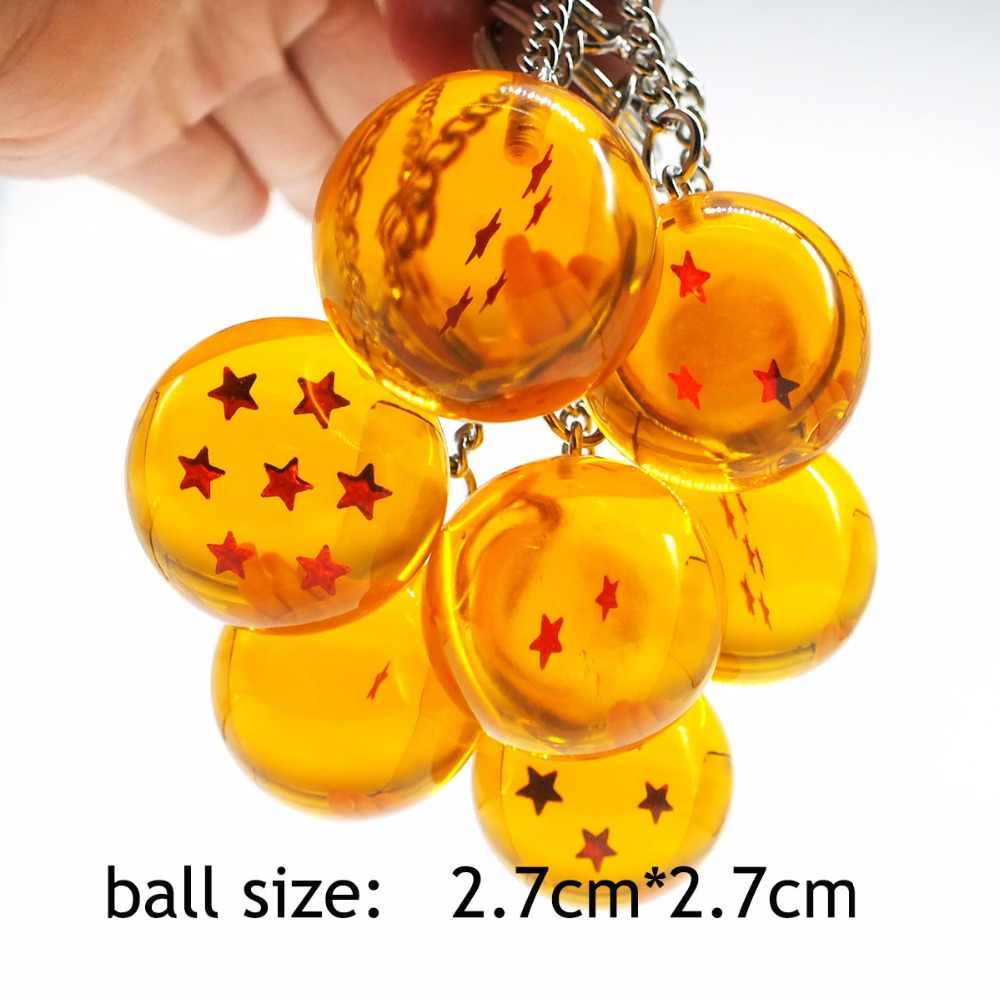 Moda Dos Desenhos Animados do Anime Dragon Ball Z DBZ Chaveiro Criança Cosplay 7 Dragonball Z Estrelas Crystal Ball Chaveiros PVC Pingente de Chave titular