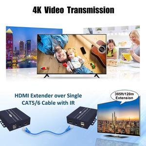 Image 4 - 2020 Best IP di Rete HDMI KVM Extender 200m con Loop di Uscita 1080P RJ45 Porte HDMI Extender IR 660ft HDMI USB Extender Over Cat5e/6