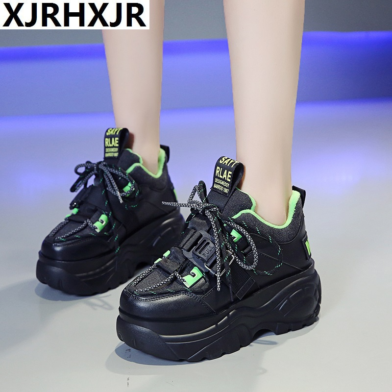 Women Platform Sneakers Lace-up Winter Velvet Keep Warm Dad Shoes High Top Chunky Casual Shoes Thick Bottom Flats Ladies Creeper
