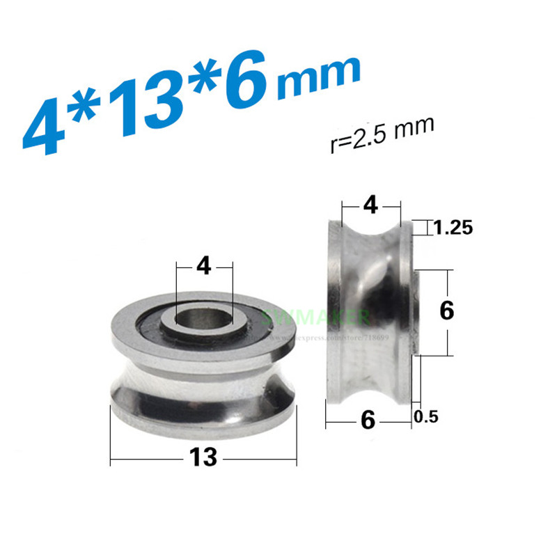 1pcs 4*13*7mm SG10 Bearing Pulley, Goethe Grooved Guide Rail U Groove, Double Row Ball Rolling Wheel