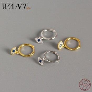 WANTME Genuine 100% 925 Sterling Silver Jewelry Mini Blue Zircon Evil Eyes Earring Pendant Small Stud Earrings for Women Femme 1