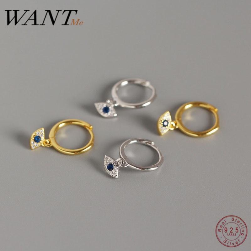 WANTME véritable 100% 925 bijoux en argent Sterling Mini bleu Zircon mauvais yeux boucle doreille pendentif petit clou doreille pour les femmes Femme