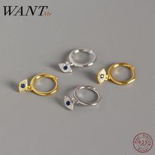 WANTME-Joyería de 100% plata fina 925 auténtica para mujer, mini pendiente de ojos malvados de circón azul, aretes pequeños de tuerca
