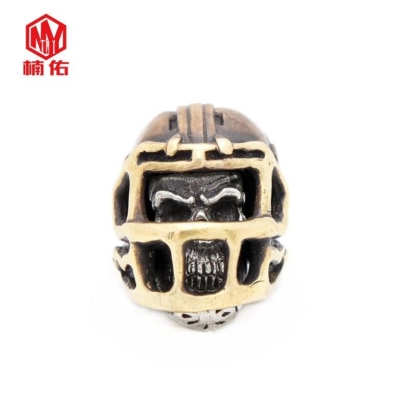 1PC rétro Bronze tibétain argent Rugby chapeau casquette de Football crâne EDC Paracord perles parapluie corde cordon lanière pendentifs couteau perles - 6