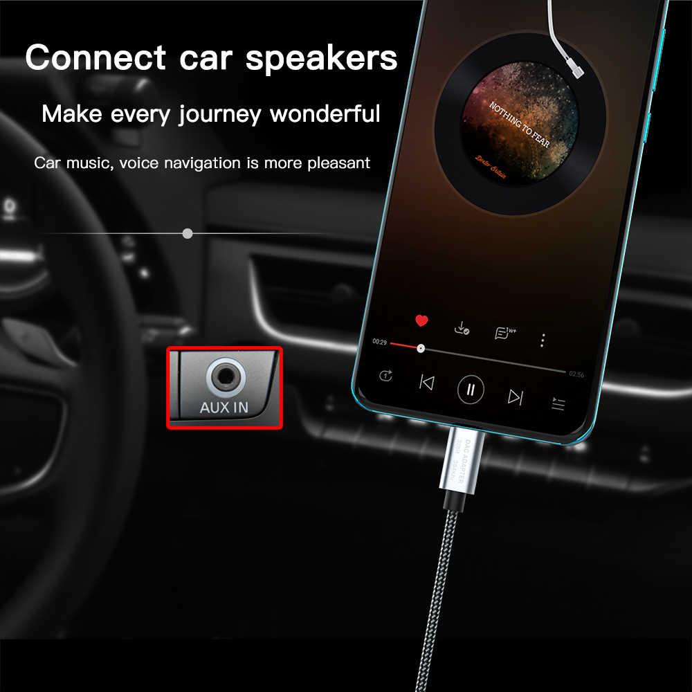 KEYSION HIFI DAC wzmacniacz słuchawkowy rodzaj usb C do AUX męski głośnik adapter audio 32bit 384kHz cyfrowy dekoder samochodowy konwerter AUX