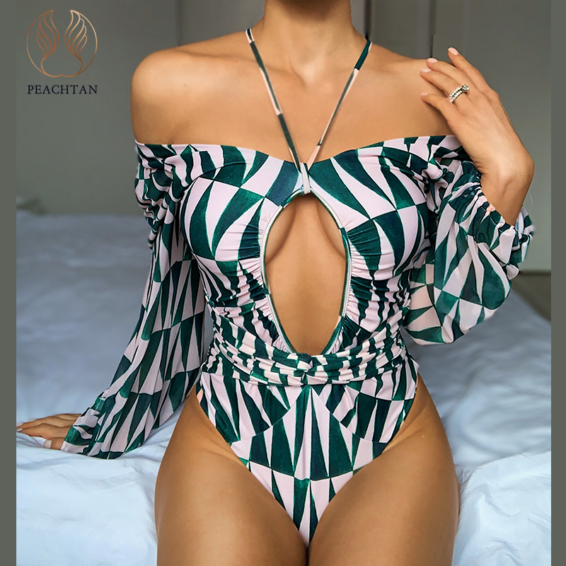 Image 5 - Peachtan v neck swimsuit one piece 2020 Print swimwear women Hollow out bodysuits monokini Long sleeve bathing suit Plus sizeBody Suits   -