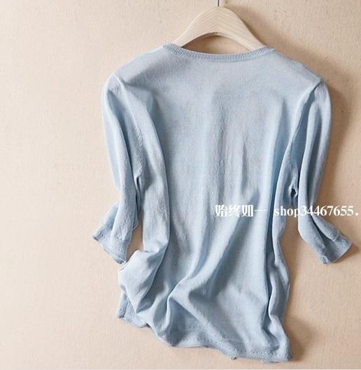 Nuevo viento en primavera y verano cuello en v impreso mangas de seda aire acondicionado cardigan se previene en la ropa - 5