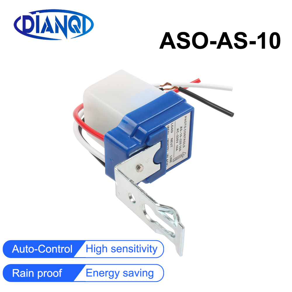 New AS-10 10A Photoswitch Sensor Switch Auto On Off Photocell Street Light Control AC/DC Universal 12V 24V 220V