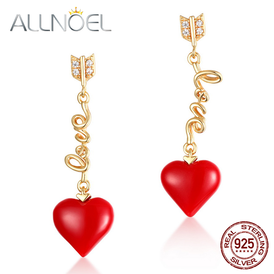ALLNOEL Real 925 Sterling Silver 9K Gold synthetic coral Heart Pendant Earrings  Jewelry Gift For Women Fine Jewelry 2019 NEW (8)