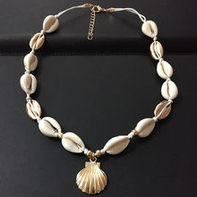 Gold Silver Color Sea Shell Choker Necklace Handmade Adjustable Friendship Necklace Bohemia for Women Summer Jewelry(China)