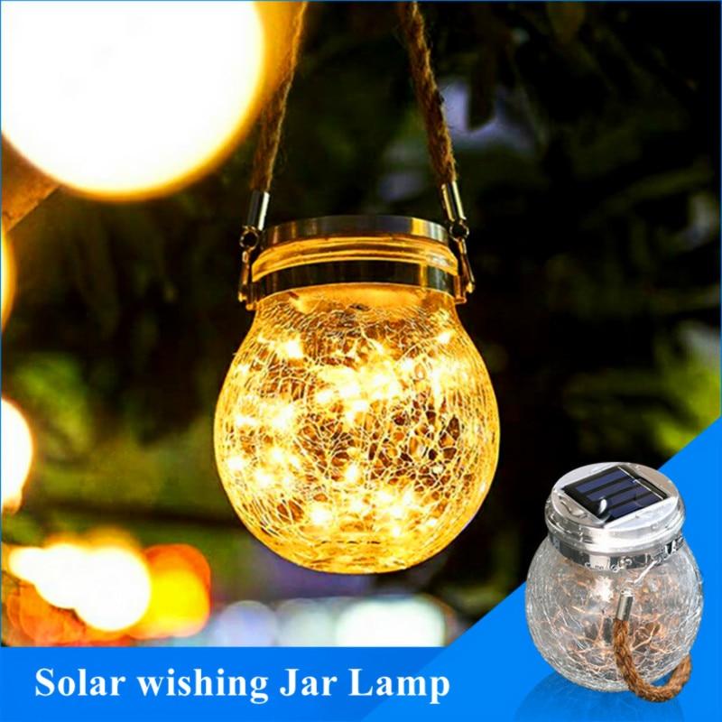 20 LED Outdoor Solar Jar Lamp Light String Wishing Glass Bottle Light Garden Lighting For Party Wedding Christmas New Year