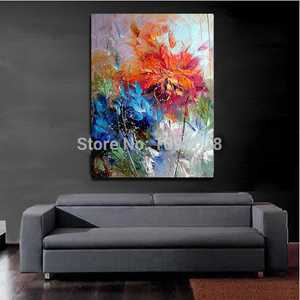 Image 4 - Big 100% Hand painted Floral Purple Abstract Oil Painting Modern Wall Art Living Room No Frame Picture Home Decoration Painting