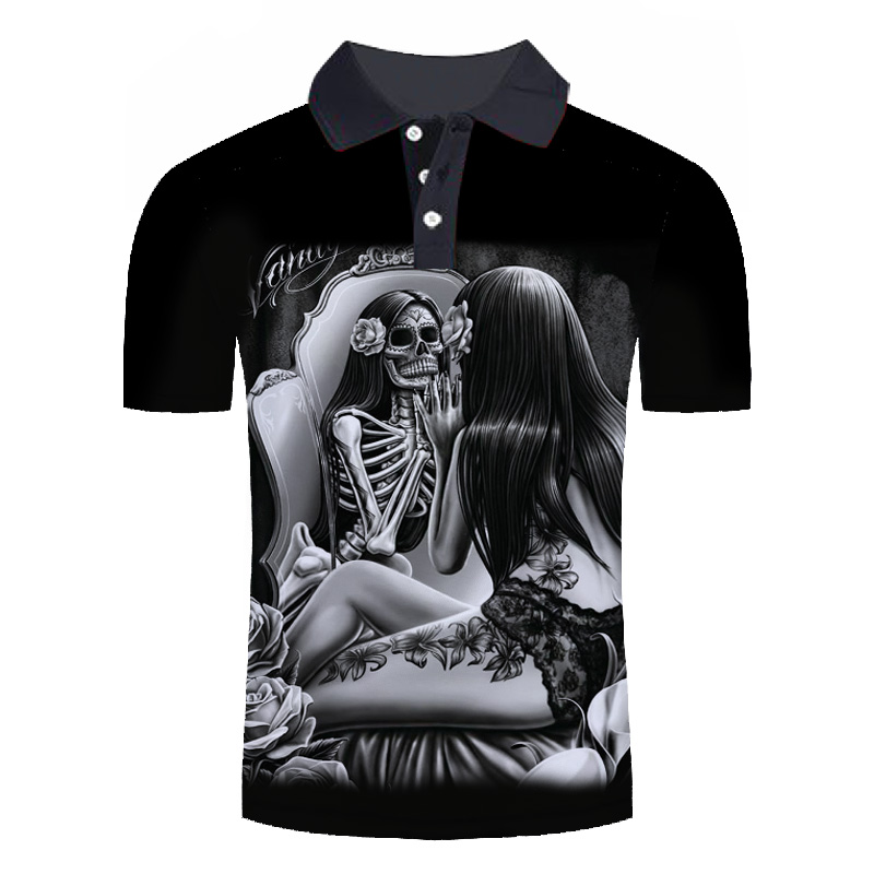 2019 new   polo   homme de marque haute qualite Men's Summer skull 3D Print Cool Short Sleeve Stand Collar Casual Comfortable Shirt