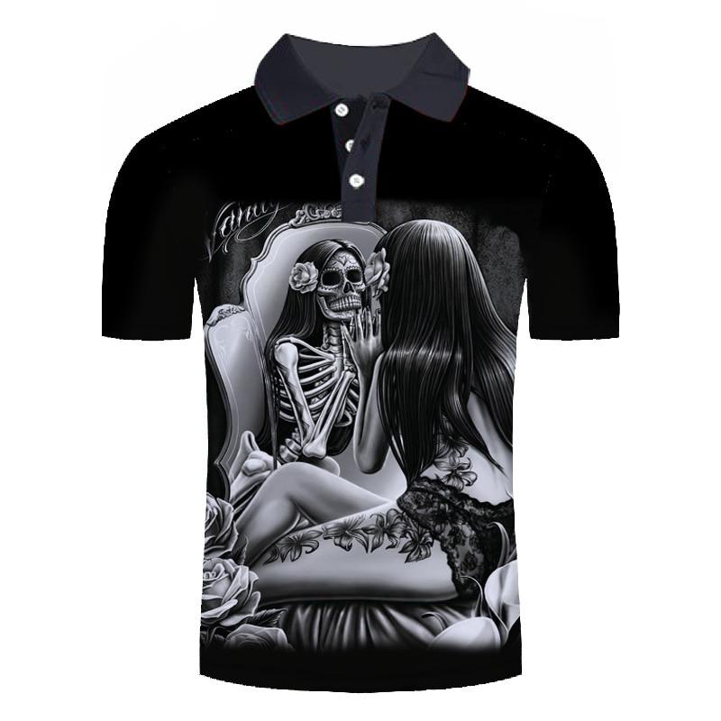 2019 new   polo   homme de marque haute qualite Men's Summer skull 3D Print Cool Short Sleeve Stand Collar Casual Comfortable Shirt