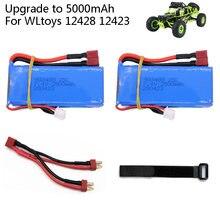 Atualize para 7.4v 5000mah lipo bateria t plug para wltoys 12428 12423 rc carro acessório 7.4v 2500mah lipo bateria 903480 para brinquedos rc