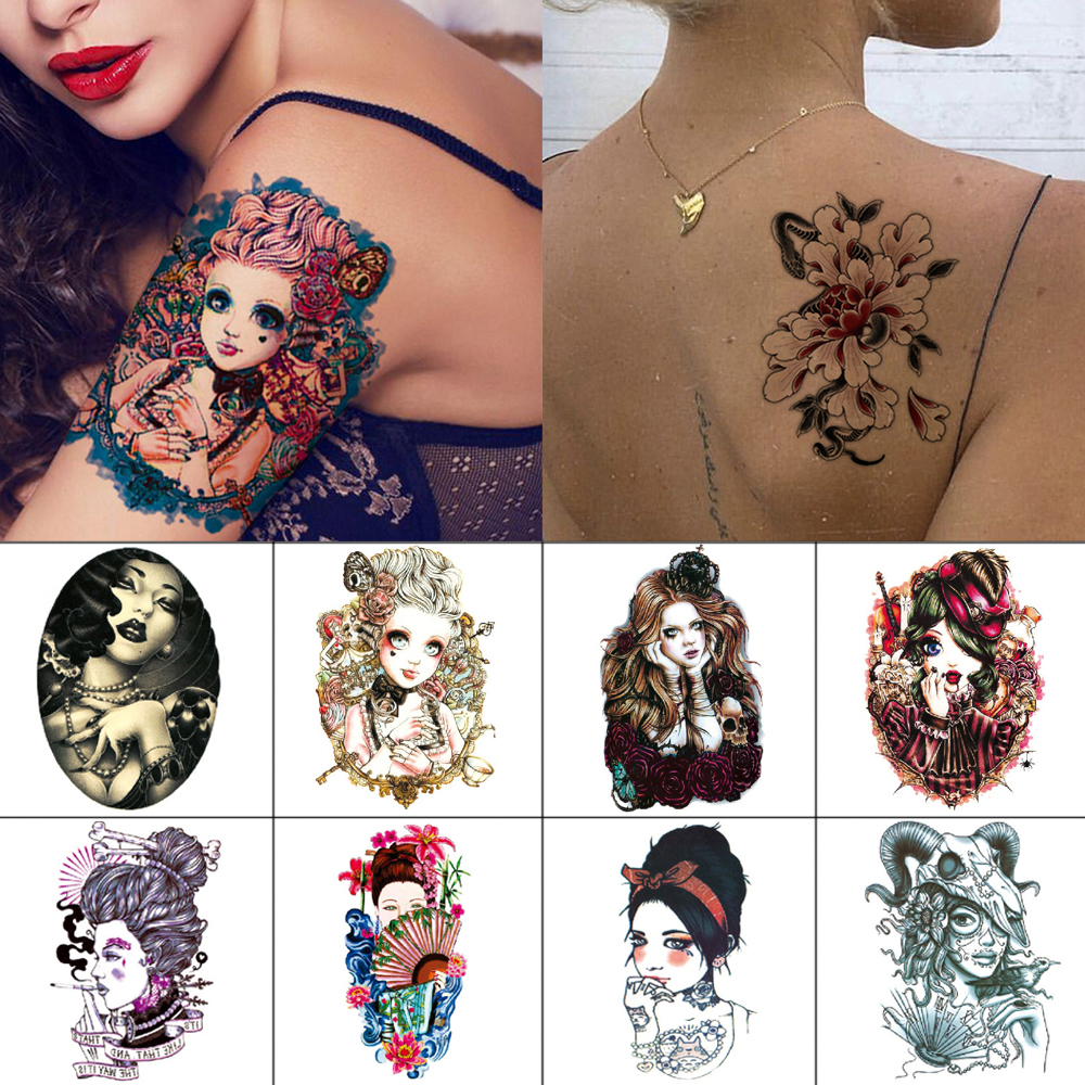 Temporary Tattoo Stickers Flower Sexy Body Art Tattoo Comic Ancient Woman Fashion Cute Waterproof Tattoos For Women And Girls
