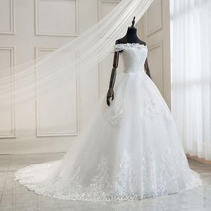 Image 3 - Mrs Win 2020 Luxury Lace Embroidery Wedding Dresses Off The Shoulder 100cm Long Train Sweetheart Vestido De Noiva