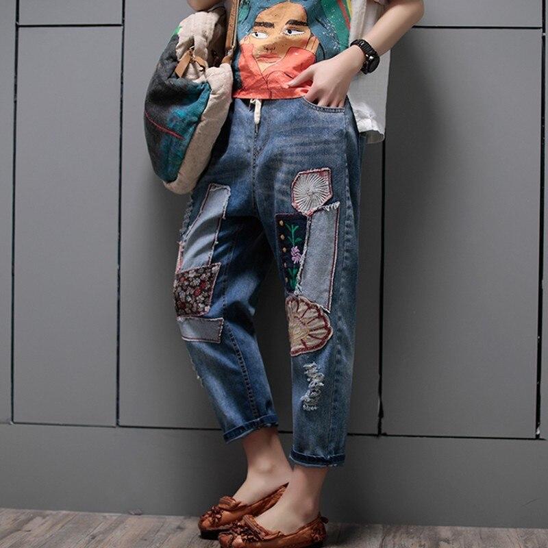 Calf Length Pants Fashion Women Pencil Pants Hole Ripped Elastic Waist Jeans Denim Female Trousers Casual Vintage Patchwork
