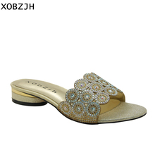 Italian Women Shoes Party Flat Sandals 2019 Summer Rhinestone Ladies Gold Open Toe Luxury Ladies Shoes Woman Lager Size US 11 original intention new fashion women sandals popular open toe flat with heels sandals elegant gold shoes woman plus us size 4 15