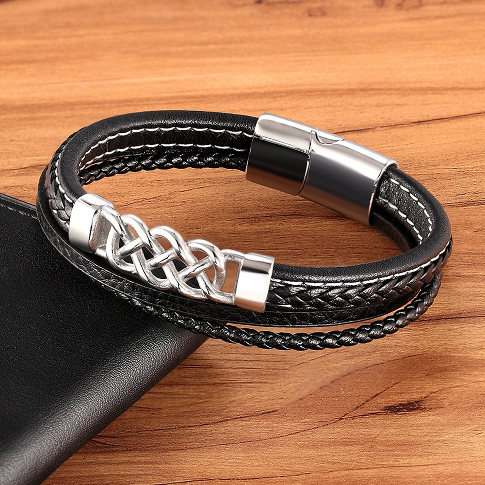2020 New Bracelet for Men Multilayer Magnet Leather Bangles Magnetic Clasp Braided Wrap Trendy Charm Jewelry Bracelet Armband