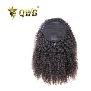 QWB Free Shipping Drawstring Ponytail Kinky Curly Brazilian Virgin Human Hair14~22 Inch