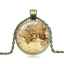 цена 3 Style Sweater chain Jewelry Vintage World Map Time Gem Pendant Necklace Classic Fashion Women Men Handmade Necklace Accesory в интернет-магазинах