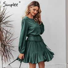 Simplee Vestido corto de algodón con volantes, vestido elegante y holgado para fiesta y oficina, vestido elegante de otoño para mujer con tirantes tipo farol