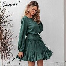 Simplee zarif gevşek kısa parti elbise Streetwear fener kayış ruffled pamuk elbise o boyun ofis lady sonbahar şık iş elbisesi