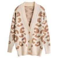 Rebeca con estampado de leopardo para Mujer cuello en V Botón de manga larga suéter Casual para damas puente otoño Rebeca superior Ropa Mujer Invierno 2019