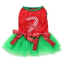 New Dog Cat Christmas Dresses Princess Cartoon Clothes For Small bowknot decor for dog pet  Costume