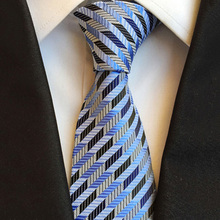 Fashion Business Formal Work Silk Mens Tie Stripe Mesh Novelty Blue Black White Men's Birthday Party Neckties Gifts For Men