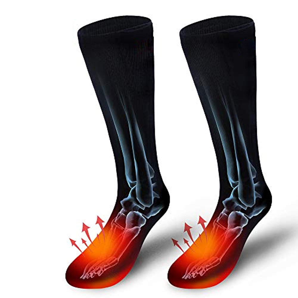 Унисекс, 1 пара, зимние носки с подогревом и обновлением USB, теплые носки с подогревом для катания на лыжах, кемпинга, велоспорта и мотоциклов+ 2 литиевых аккумулятора - Цвет: Черный