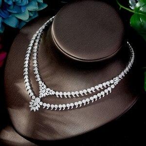 Image 5 - HIBRIDE luxe classique couleur or blanc AAA + CZ pierre mariage robe de mariée accessoires fête bijoux ensembles pour les femmes N 1197