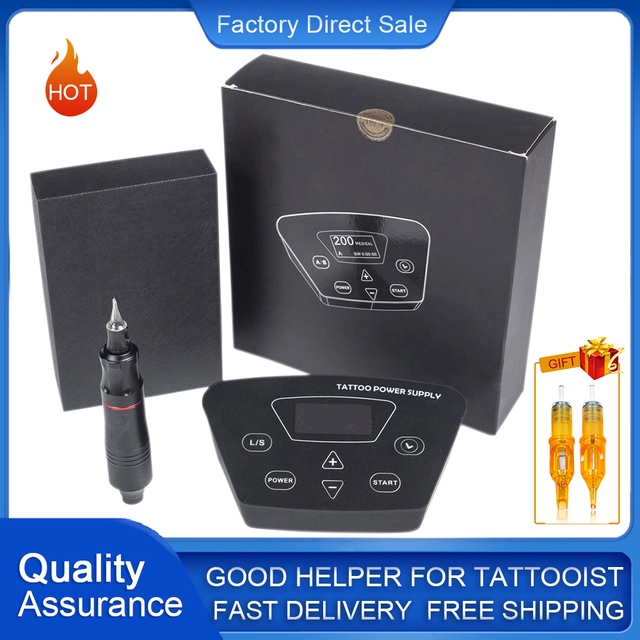 Biomaser Professional Tattoo Machine Kit P300 Power Supply Tattoo Rotary Pen For Permanent Make Up With Cartridges Tattoo Needle
