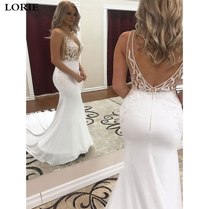 LORIE Mermaid Wedding Dress Chiffon Nude Top Lace Bride Dress  Open Back Wedding Gown Vestidos De Novia