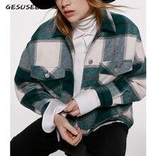Winter coats and jackets women green plaid jackets loose plu