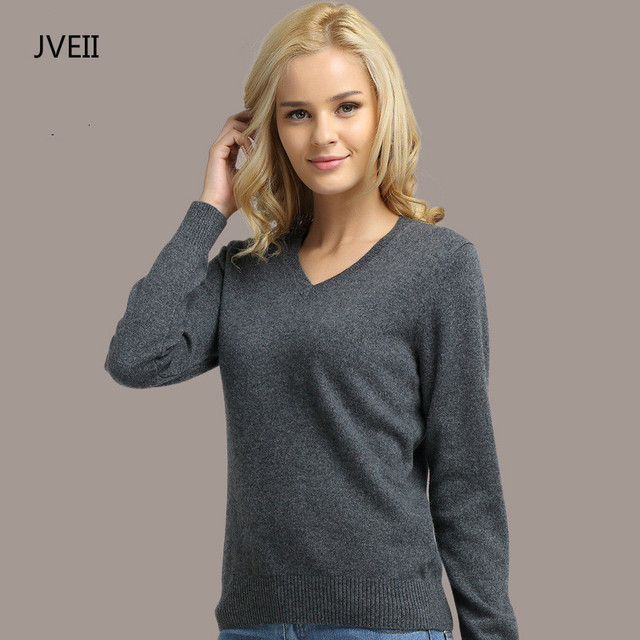 Long Sleeve V-neck Knitted Cashmere Sweater 1