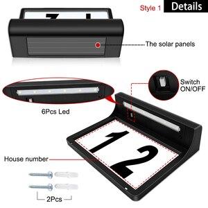 Image 3 - الطاقة الشمسية رقم البيت البلاك عنوان أرقام للمنازل مع الطاقة الشمسية إضاءة خارجية مضادة للماء مصباح أرقام لباب سياج صندوق البريد