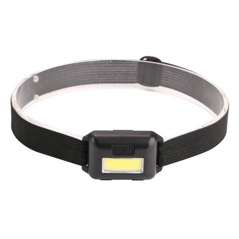 Cob Led Mini Head Light Lamp Headlight 3 Modes Rainproof Head Torch Flashlight Head For Outdoor Camping Fishing Black