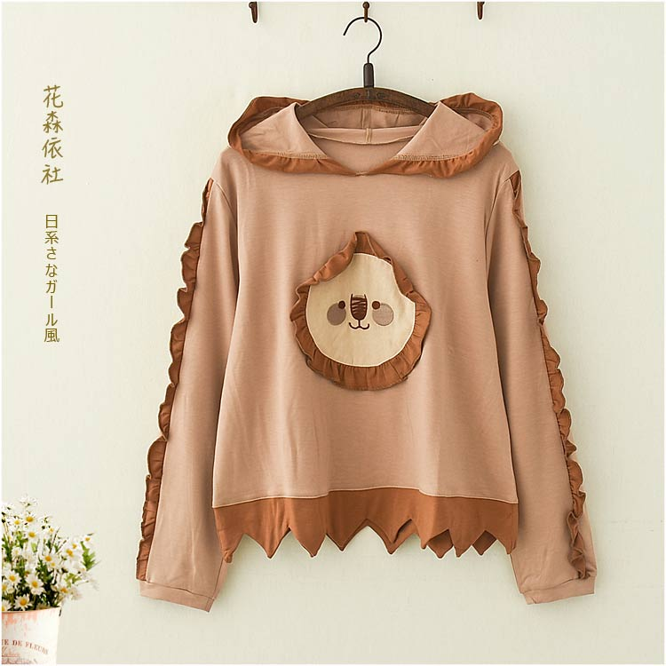 Autumn Women Kawaii Sweatshirt Hoodie Sun Applique Student Teen Girl Loose Long Sleeve Hooded Tops Korean Preppy Style Mori Girl
