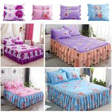 3 IN 1 Polyester Queen Size Bed Skirt Double-Layer Skin-Friendly Cotton Bedspread Colverlet 2 X Pillow Case Flower Set(China)