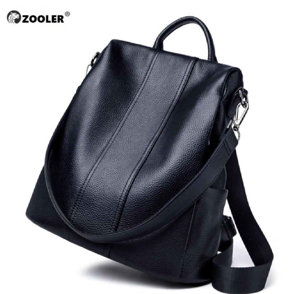 ZOOLER oryginalne skórzane plecaki torby podróżne kobiet 2019 nowe miękkie czarny plecak wysokiej jakości luksusowa książka torba Bolsas # Z176 w Plecaki od Bagaże i torby na  Grupa 2