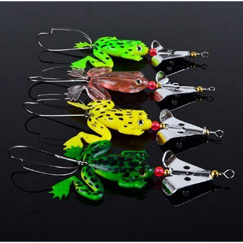 MeterMall Lot 4pcs Rubber Frog Soft Fishing Lures Bass CrankBait Tackle 9cm/3.54`/6.2g By Paxipa