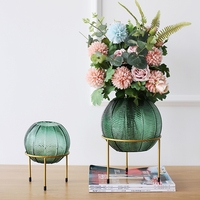 Luxury Creative Glass Vase Green Nordic Home Balcony Living Room Dining Room Soft Decoration Flower Pot Stand Vase Decoration