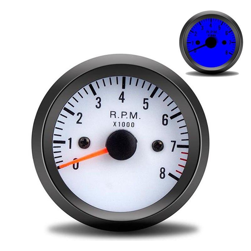 """Tacómetro de coche Universal 2 """"52mm 12V LED azul 0 ~ 8000RPM tacómetro medidor de calibre con Sensor para coche de gasolina/camión/ATV tacómetro rpm"""