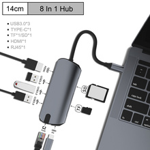 Type C HUB to Multi USB 3.0 HDMI 4K /SD/TF Card Reader/ PD charging Audio /RJ45 Adapter for MacBook Pro type c usb