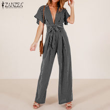 2020 Plus Size ZANZEA Summer Fashion Jumpsuits Women Sexy V Neck Short Sleeve Striped Bandage Long Rompers Wide Leg Playsuits(China)